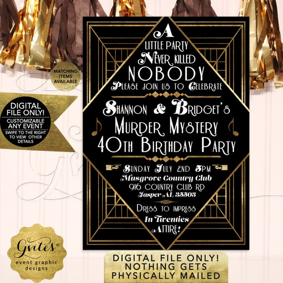 Murder Mystery 40th Birthday Party Invitation | Art Deco/ Vintage/ The Great Gatsby | Printable JPG + PDF