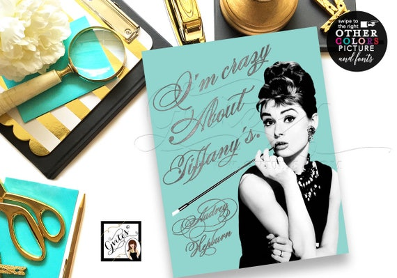 Audrey Hepburn Custom Quote Prints For Wall Art Breakfast Themed Birthday or Bridal Shower. 8x10 By Gvites