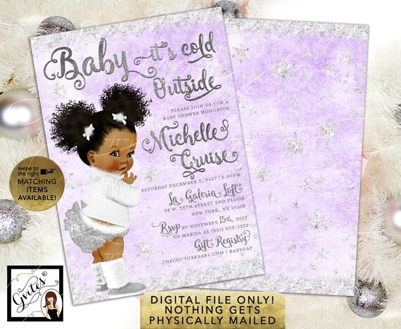 """African American Baby It's Cold Outside Baby Shower Invitation / Lavender & Silver / Personalized Invites. 5x7"""" Double Sided"""