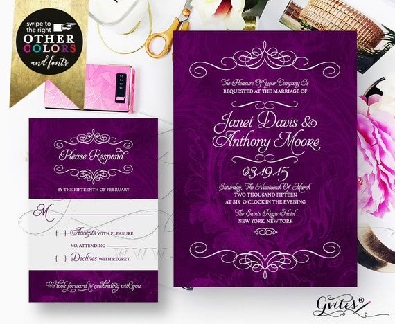 Purple Wedding Invitation Set Response Cards/ Watercolor Eggplant Plum Deep Purple Printable Bridal Invitations/ DIY Digital File Gvites