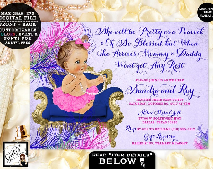 "Peacock Baby Shower Invitation, Purple and Blue ,Pink Green and Gold, Ribbons Tutus, Ballerina, Printable Invitations, Vintage, 7x5"" Gvites"
