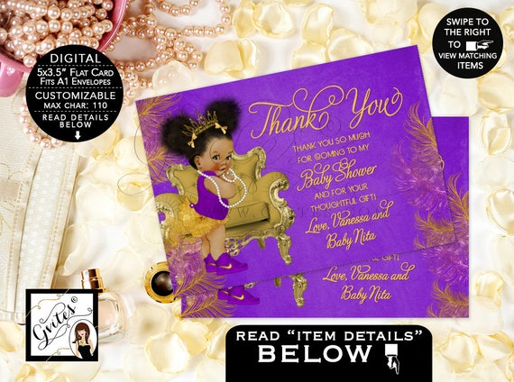 Purple & Gold Thank You Baby Shower Cards Princess African American Afro Puffs Tiara | Digital JPG + PDF Design: TIACH-116 By Gvites