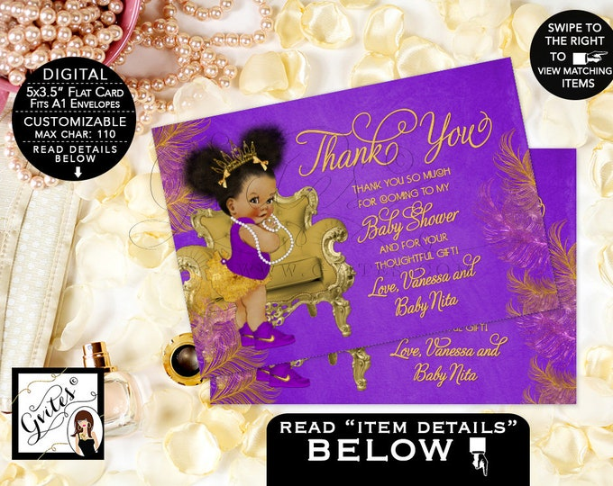 "Purple and gold baby shower Thank You Cards, princess African American baby girl, Afro Puffs TIARA Baby 7x5"" Gvites"