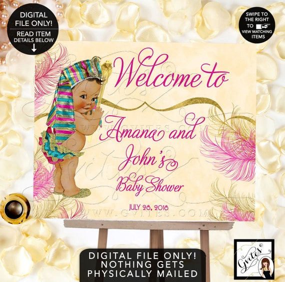 Welcome Sign Cleopatra Egyptian Baby Shower Printable Signs Pharaoh/ Pink & Gold/ Ethnic baby invitations