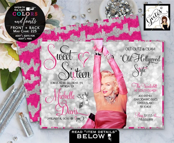 "Sweet Sixteen Pink Silver Marilyn Monroe Party Invitations Teen Birthday/ Old Hollywood 1940s 1950s. 7x5"" Double Sided. Printable/Digital"