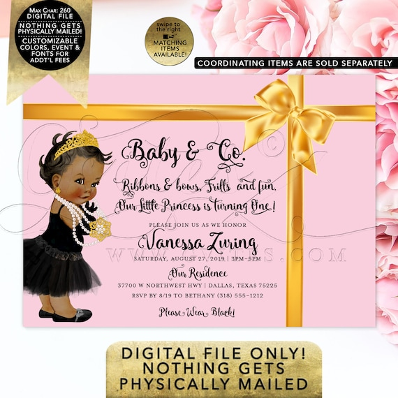 Baby & Co First Birthday Invitation | Pink Gold Satin Ribbon |  Ethnic Baby Invitations Vintage Baby Shower Bundle | Printable Digital File