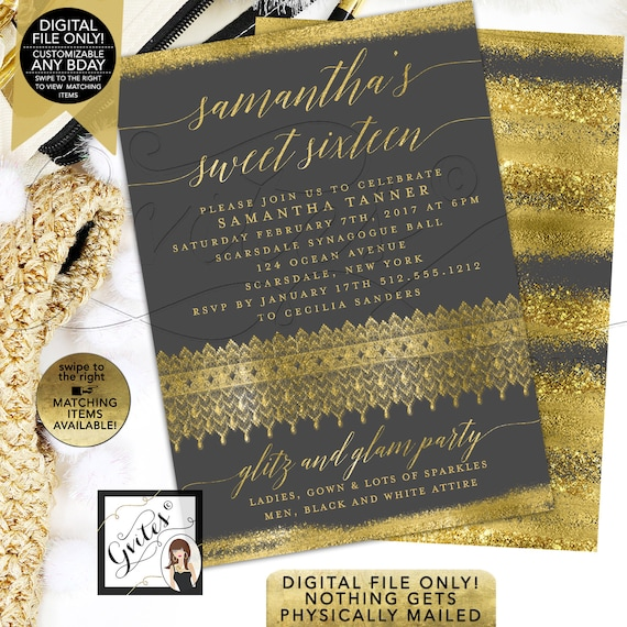 Sweet Sixteen | Holiday Theme \ Gold Glitter Charcoal Gray Invitations/ Invites | Digital File Only | JPG + PDF Format | Double Sided 5x7""