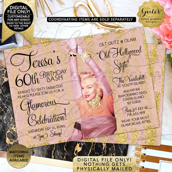"Marilyn Monroe Style 60th Birthday Invitations | Blush Pink Rose Gold Hollywood Invites | 1950's style | Printable 7x5"" Double Sided."