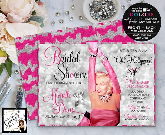 "Pink Silver Marilyn Monroe Party Invitations Bridal Shower / Old Hollywood theme 1940s 1950s. 7x5"" Double Sided. DIY/Printable/Digital"