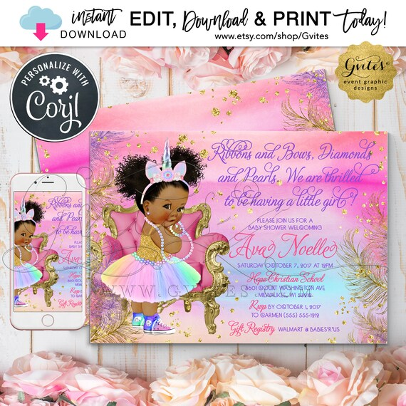 "Unicorn Baby Shower Princess Vintage Girl. Pink Purple Gold Turquoise/ Teal/ Blue/ African American Rainbow Invites. 7x5"" Digital File Only!"