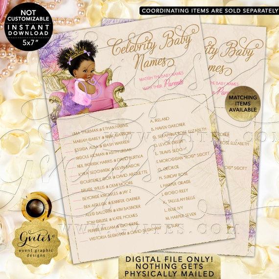 Baby Shower Celebrity Baby Names Game Pink Purple Gold | Dark Puffs/Curly | Instant Download JPG + PDF | Design: TIACH-120