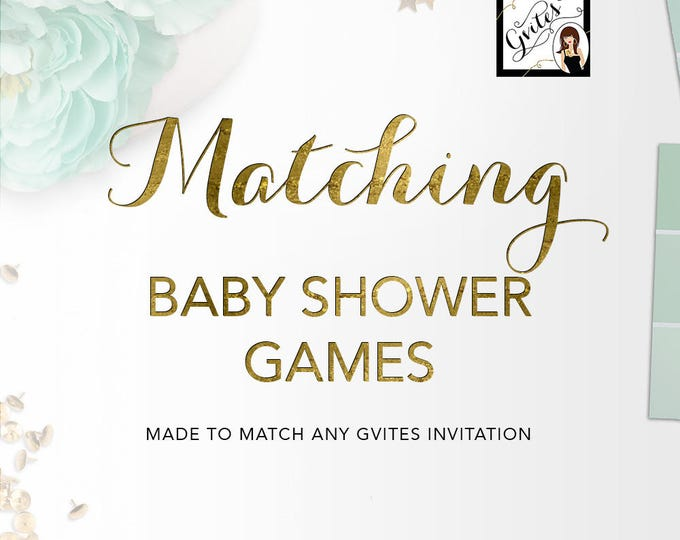 Matching Baby Shower Games Add-on - To Coordinate with any Gvites invitation design.