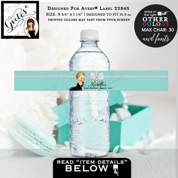 "Breakfast at baby shower water bottle labels, blue water stickers. PRINTABLE. 9.75x1.25""/5 Per Sheet {Designed For Avery® 22845} #BATGBB102"