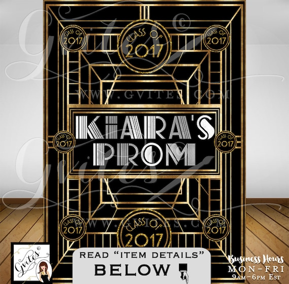 Great Gatsby PROM Step & Repeat Backdrop/ 1920's photo booth wall back poster sign/ backdrop personalized any Event!  PRINTABLE. By Gvites.
