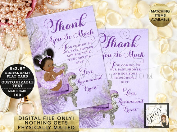 Thank You Cards Lavender Purple Silver Baby Shower Customizable Text | Digital Printable JPG + PDF Design: CWCHSP-103 By Gvites