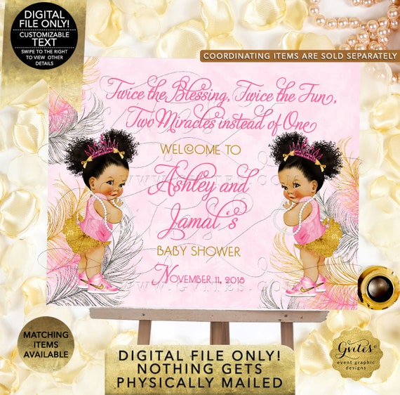 Pink Gold & Silver TWIN Baby Shower Welcome Sign Princess Decor Vintage Girl African American Afro Puffs {Pink/ Silver/ Gold Feathers}