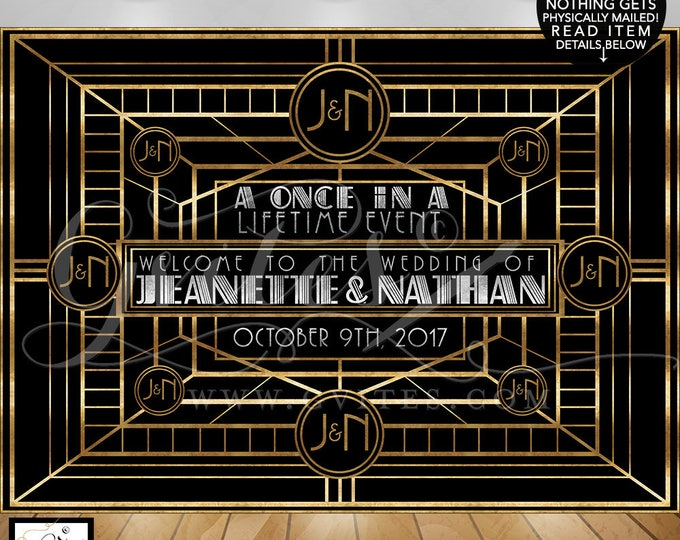 Great Gatsby Wedding backdrop 1920s step & repeat, table banners, entrance welcome signs, photo booth wall back drops, digital file only!