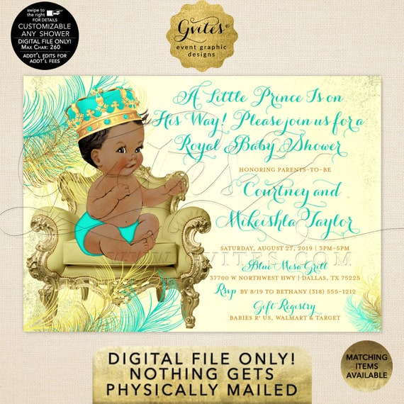 Mint Green Gold Prince Baby Shower African American Boy Invitation | A little prince is on his way | JPG + PDF 7x5"