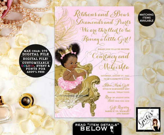 Pink and Gold Invitations baby shower princess African American baby girl, Afro Puffs Invites Gold Crown, DIGITAL 5x7 Gvites