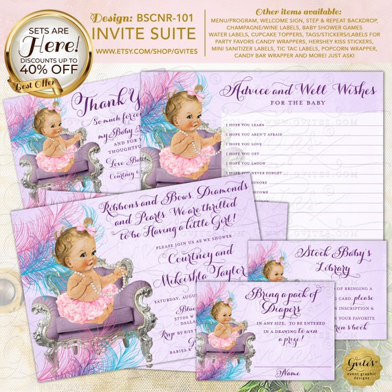 Pink Lavender Turquoise Baby Shower Printable Invitation with Advice Cards For Baby, Diaper Raffle & Book Request-Piece-Suite