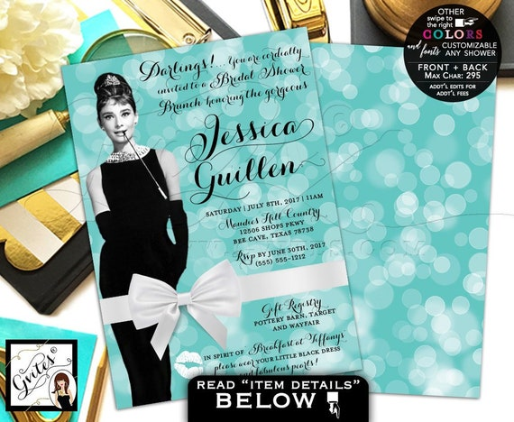 Breakfast Bridal Shower Brunch Invitation | Audrey Hepburn Party Theme | Digital PDF + JPG 5x7 Double Sided.