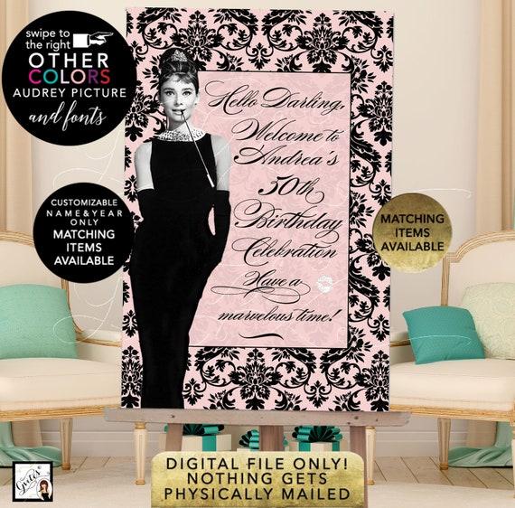 Welcome 50th Birthday Audrey Hepburn Printable Poster Sign, Digital File Only! JPG + PDF. Turquoise Blue Black Damask Pattern
