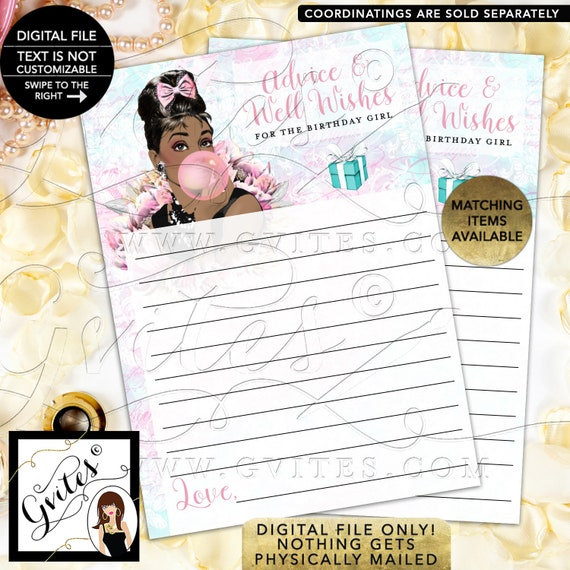 """Advice Cards For Birthday Girl Audrey Hepburn Party Games. Digital File Only! PDF + JPG, 5x7""""/2 Per Sheet {Instant Download}"""