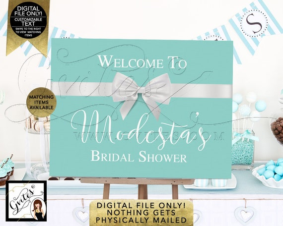 Welcome to Bridal Shower Sign Decorations / Breakfast at Entrance Centerpiece / Dessert Table Bride and Co Printable Signs Blue & White