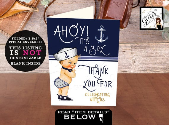 Nautical Baby Shower Thank you Cards Ahoy it's a boy