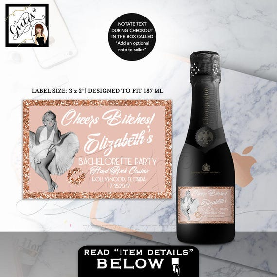 Marilyn Monroe Party MINI CHAMPAGNE labels rose gold style/ Printable Personalized Stickers Party Favors