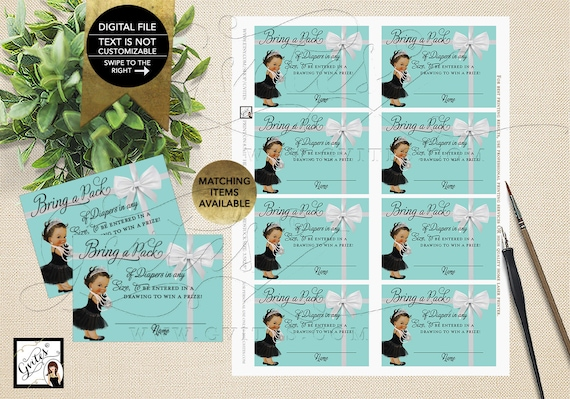 """Diaper Raffle Baby and Co Party/Baby Shower Inserts/Printable. 3.5x2.5"""" 8/Sheet. {INSTANT DOWNLOAD/Baby: Med Brunette}"""