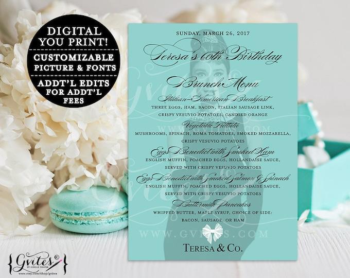 60th Brunch Menu Cards, Audrey Hepburn customizable birthday menus, printable, blue co table, white bow breakfast at themed, 5x7, digital.