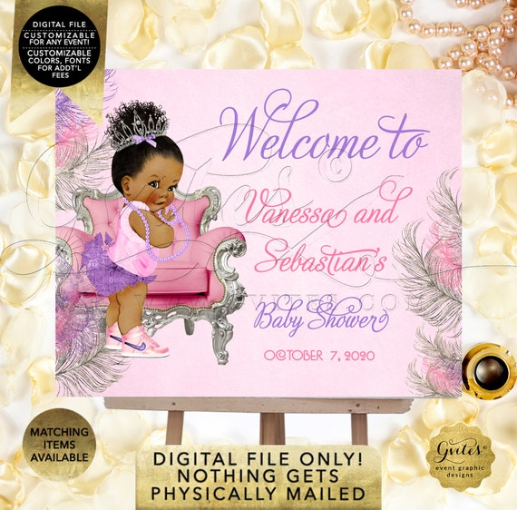 Welcome Baby Shower Coed Sign / Pink Purple Silver Afro Puffs Vintage Party African American Princess