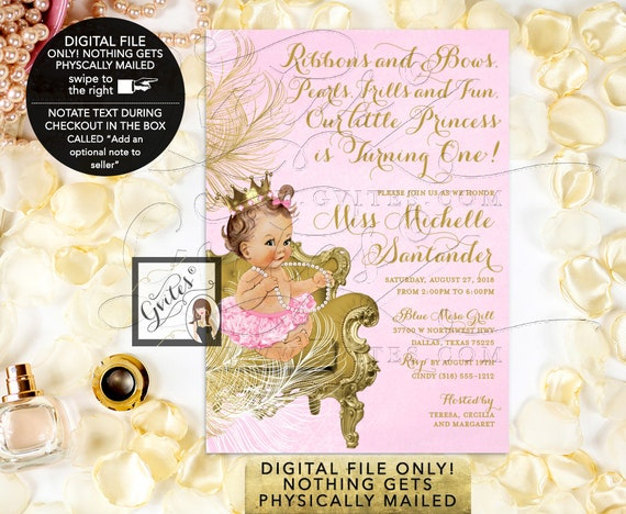 Pink and Gold First Birthday Invitations Princess Girl Vintage Invites. Fancy Crown, Ribbons and Bows, Pearls, Frills and Fun. Digital, 5x7""