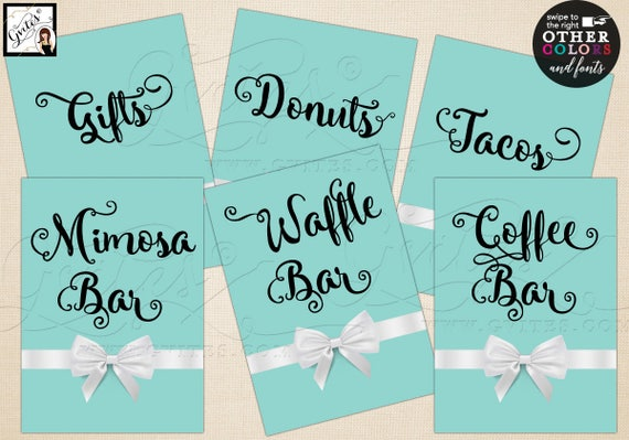 "Customizable Table Signs | Food Cards Table Decoration | Breakfast themed bridal/baby/birthday | Set of 6 {4x6"" or 5x7""} Digital File!"