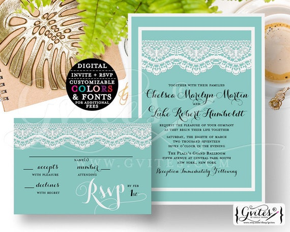 "Blue Wedding Invitation Printable Set. Robbin Egg and Lace Digital Customizable Invites. Modern Elegant Invite {Invite 5x7"" RSVP 5x3.5""}"