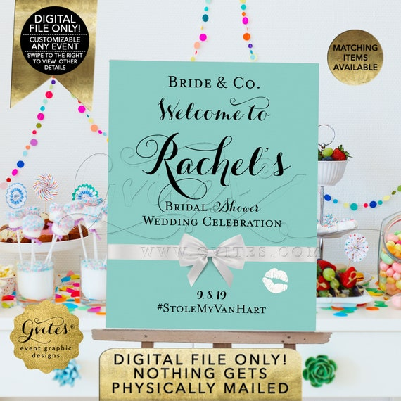 Bridal Shower Welcome Sign/Decor/Poster. Bride & Co Decorations| Breakfast at Themed Blue/ Turquoise/ Robin Egg | Printable JPG + PDF