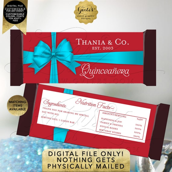 """Quinceanera Candy Bar Wrappers Birthday 
