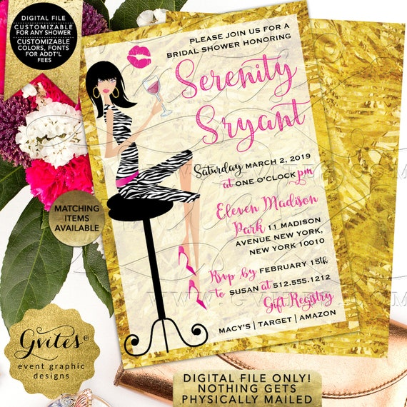 "Pink and Gold Bridal Shower Invitation | Printable Digital JPG + PDF 5x7"" Double Sided 