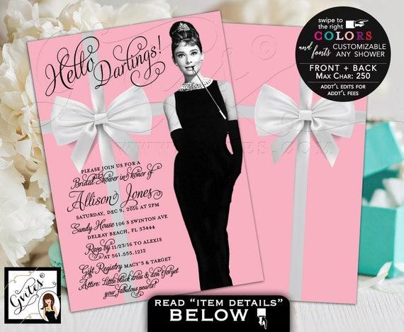 Vintage Bridal Shower Invitations / Pink White Ribbon Audrey Hepburn Invitation Little Black Dress / PRINTABLE Turquoise Blue Hot Pink