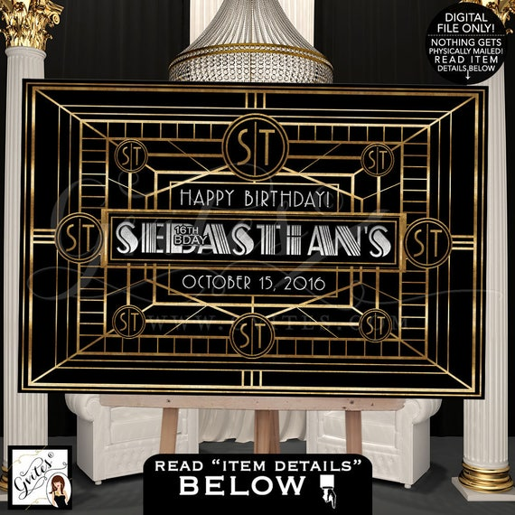 Great Gatsby Dessert table backdrop, backdrop sign/ poster/ black and gold silver party table back drop sign/ Digital File Only!