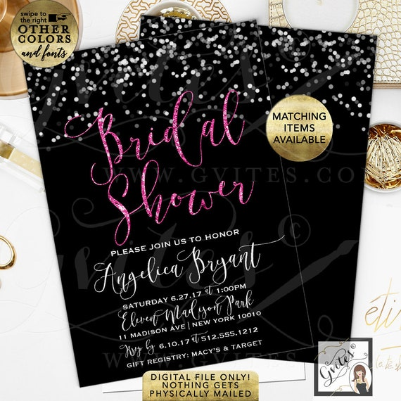 Black & Pink Bridal Shower Invitation | Printable/Digital File Only! JPG + PDF Format | Double Sided 5x7"