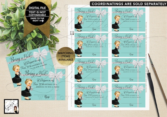 "Diaper Raffle Baby Shower Inserts/ Baby and Co Baby Shower Party Printables/ DIY/ Digital File ONLY! 3.5x2.5"" 8 Sheet."
