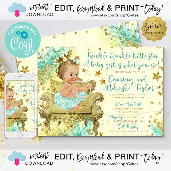 Mint & Gold Yellow Baby Shower Twinkle Twinkle Little Star Girl Printable Invitation. EDIT Print Today with Corjl. {INSTANT download}.