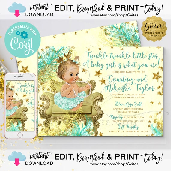 Mint & Gold/Yellow. Twinkle Twinkle Little Star Baby Shower Girl Printable Invitation. EDIT and Print Today with Corjl. {INSTANT download}.