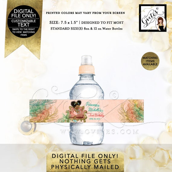 """First Birthday/ MINI Water Labels/ Afro Puff/ Birthday/ Baby Princess/ Peach Gold/ Fits 8oz-12oz. Size: 7.5 x 1.5""""/ 7 Per Sheet"""