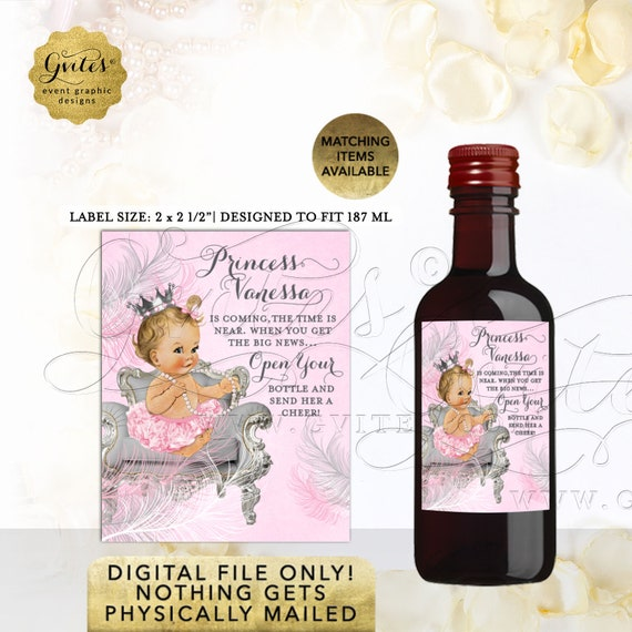 """Pink & Silver Mini Wine Labels baby shower princess party stickers favors gift 2x2.5"""" 12 Per/Sheet   Design: CWCHS-103"""