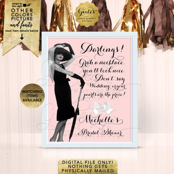 """Audrey Hepburn Pearl Necklace Personalized Sign. Digital File Only! 8x10"""""""