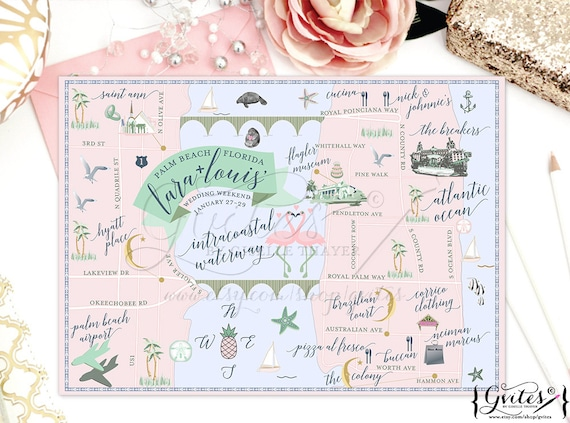 Custom Florida Wedding Maps Palm Beach/ The Breakers Welcome Bag Guest Itinerary/Printable/Digital. Up to 3 Landmarks/Locations