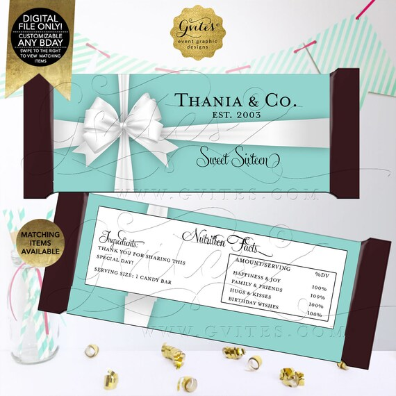 Candy Bar Wrappers | Personalized Party Favors | Printable Digital File | JPG + PDF | Fits candy bar 1.55oz | 5.25x5.75 2 Per Sheet